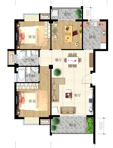 46--100㎡单身公寓,两房两厅