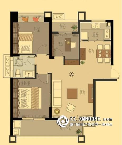 三房两厅两卫户设计图展示