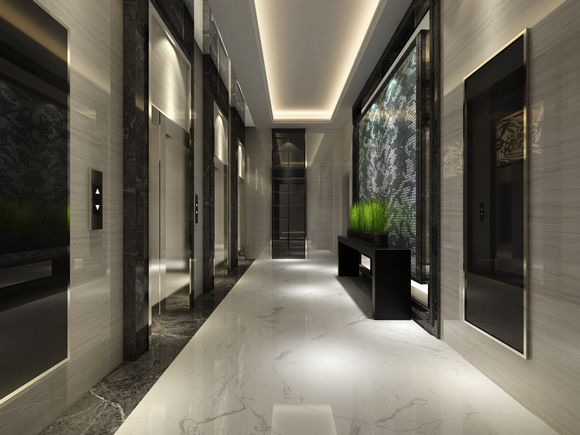 一层电梯厅效果图-荣昌 东方广场 精装入户大堂 电梯门厅将亮相高清图片