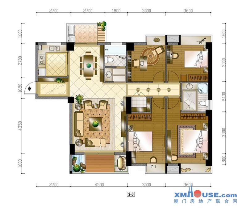 150平米四房户型图