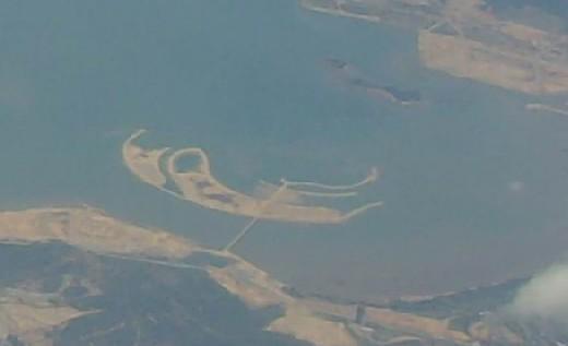 空中鸟瞰漳州港双鱼岛