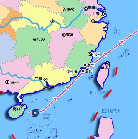 7°(海南岛东部海面),最大风速23m/s,中心气压986hpa.
